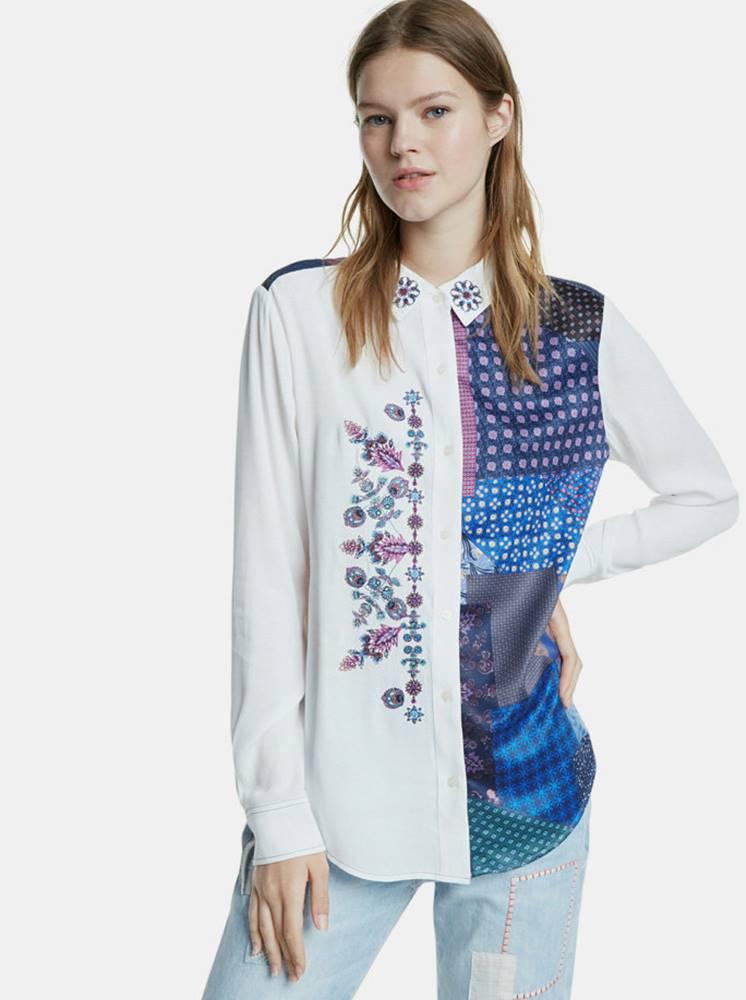 Desigual Modro-biela vzorovaná košeľa s výšivkou Desigual Lucca